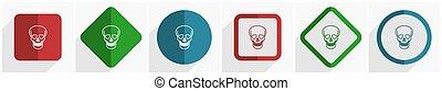 ilustracja, ruchomy, eps, opcje, ikona, 6, komplet, projektować, płaski, zastosowania, webdesign, 10, czaszka, wektor