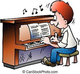 ilustracja, rysunek, gracz, wektor, piano, muzyczny