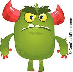 ilustracja, rysunek, monster., wektor, gniewny