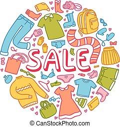 ilustracja, sprzedaż, inny, rzeczy, odzież