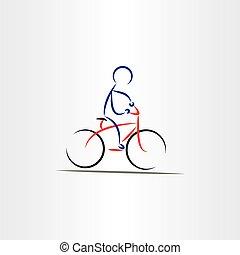 ilustracja, stylizowany, biker, wektor, człowiek, ikona