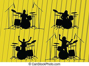ilustracja, sylwetka, muzycy, zbiór, tło, skała