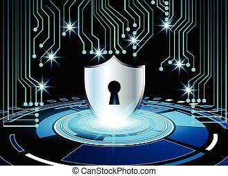 ilustracja, tło, ochrona, odosobnienie, pojęcie, lok, ekran, cyber, handlowy, tło, objazd, wektor, faktyczny, klucz, technologia, wysoki-tech, bezpieczeństwo, dane, abstrakcyjny, deska