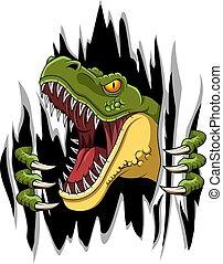 ilustracja, t-rex, wektor, rysunek, świetny, maskotka