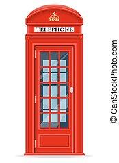 ilustracja, telefon, wektor, londyn, stragan, czerwony