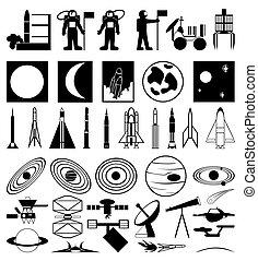 ilustracja, tematyczny, zbiór, sylwetka, wektor, space.