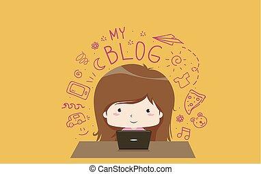 ilustracja, twórczy, blog, dziewczyna, pisanie, koźlę