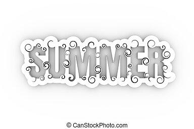 ilustracja, tytuł, summer., słowo
