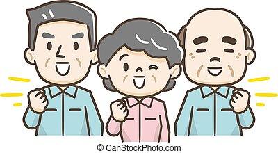 ilustracja, uśmiechanie się, pracownik, senior