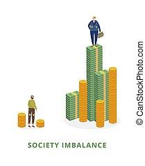ilustracja, ubogi, isolated., mężczyźni, bogaty, społeczeństwo, wektor, pojęcie, imbalance