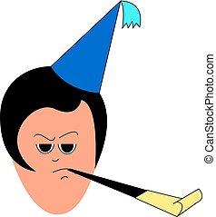 ilustracja, urodziny, tło., wektor, kapelusz, dziewczyna, biały