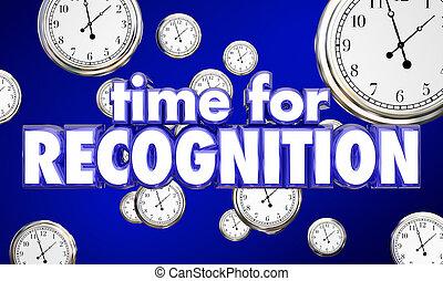 ilustracja, uznanie, clocks, czas, honor, uznanie, 3d