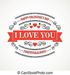 ilustracja, valentine, tło., wektor, typographical, dzień, szczęśliwy