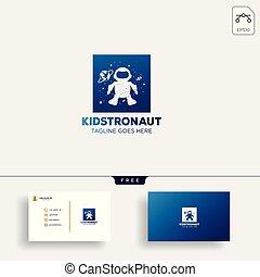 ilustracja, wektor, astronauta, szablon, logo, dzieciaki, dzieci, śni