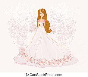 ilustracja, wektor, beauty-bride