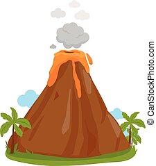 ilustracja, wektor, erupting., wulkan