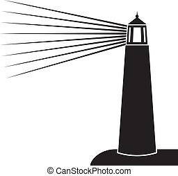 ilustracja, wektor, latarnia morska