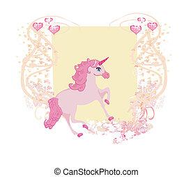 ilustracja, wektor, różowy, unicorn., piękny