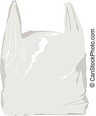 ilustracja, wektor, realistyczny, odizolowany, torba, biały, plastyk