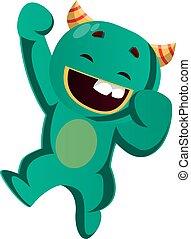 ilustracja, wektor, zielony potwór, skokowy