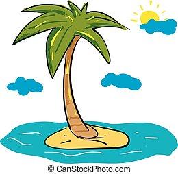 ilustracja, wyspa, drzewo, chmury, tło., wektor, dłoń, słońce, biały