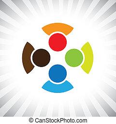 ilustracja, zabawa, get-together-, przedstawiać, to, spotkanie, kumple, &, ludzie, współposiadanie, posiadanie, również, jedność, wektor, interpretacja, rozmaitość, buddies, graphic., przyjaciele, dzieci, może