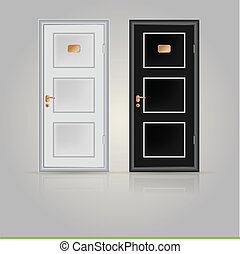 ilustracja, zamknięty, drzwi