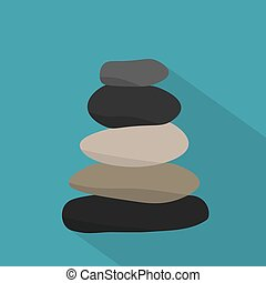 ilustracja, zen, kamienie, waga, icon-, wektor