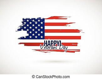 ilustracja, znak, bandera, święto, dzień weteranów