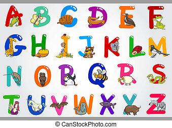 ilustracje, alfabet, zwierzęta, rysunek