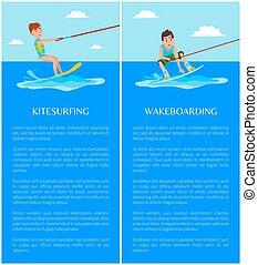 ilustracje, kitesurfing, wektor, wakeboarding