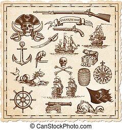 ilustracje, mapa, wektor, skarb