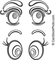 ilustracje, oczy, rysunek, zbiór