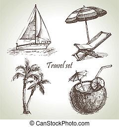 ilustracje, pociągnięty, podróż, set., ręka