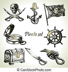 ilustracje, pociągnięty, set., piraci, ręka