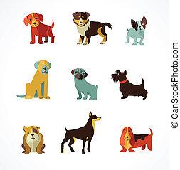 ilustracje, psy, ikony