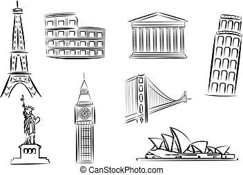 ilustracje, punkty orientacyjny, wektor