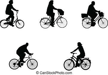 ilustracje, rower, jeźdźcy