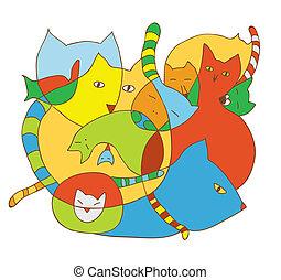 ilustracje, sprytny, koty, karta, zabawny