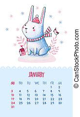 ilustracje, sprytny, ręka., 2016, kalendarz