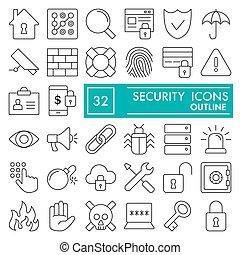 ilustracje, wektor, 10., linearny, ochrona, pakunek, komplet, zbiór, kreska, odizolowany, eps, symbolika, tło, bezpieczeństwo, bezpieczeństwo, piktogramy, znaki, logo, biały, szkice, ikona