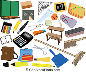 ilustracje, zaopatruje, szkoła