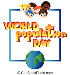 ilustrado, bandeira, cartaz, saudação, day., vetorial, mundo, ou, cartão, população