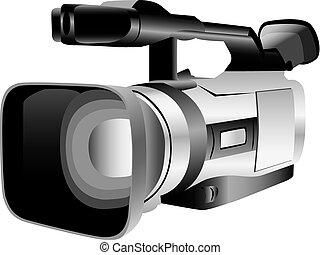 ilustrado, cámara, vídeo