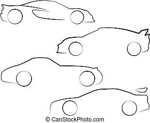 ilustrado, carros, esboço