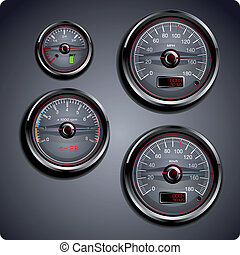 ilustrado, coche, calibradores