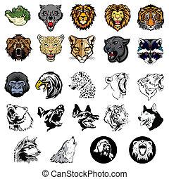 ilustrado, conjunto, de, animales salvajes, y