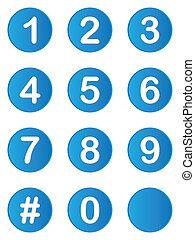 ilustrado, conjunto, de, botones, con, números, en