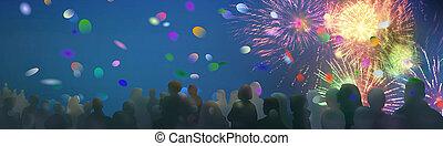 ilustrado, fogos artifício, espectador, silhuetas, luminoso, cintilante, confetti