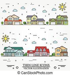 ilustrado, hogares, blanco, vecindad, fondo.